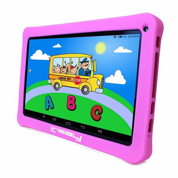 "LINSAY® New 10.1"" Kids Funny Tab Quad Core 1024x600 HD 16GB Android 6.0 with Pink Kids Defender Case"