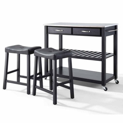 Geary 3-pc. Stainless Steel Top Kitchen Island with 2 Upholstered Stools