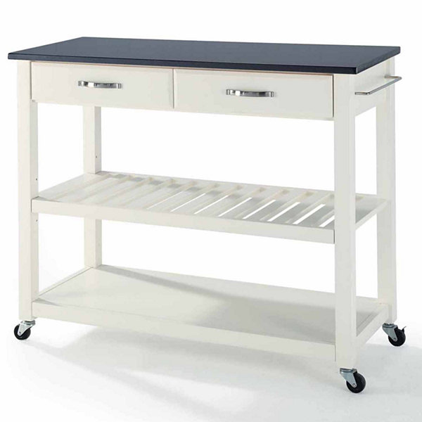 Geary Black Granite Top Rolling Kitchen Island Jcpenney