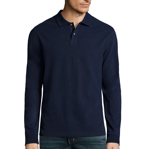 St. John's Bay® Long-Sleeve Sueded Polo