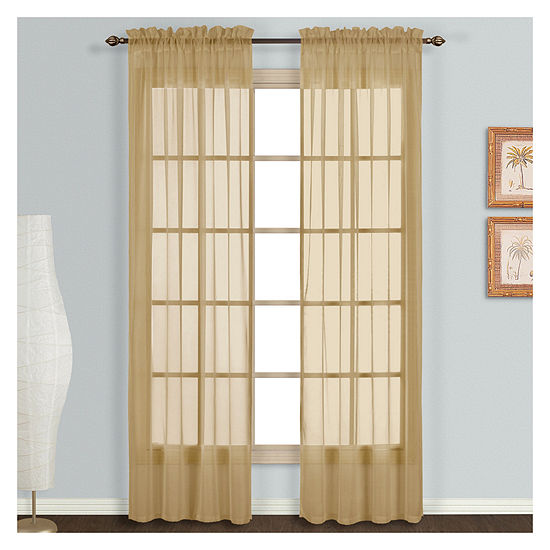 United Curtain Monte Sheer Rod-Pocket Set of 2 Curtain Panel
