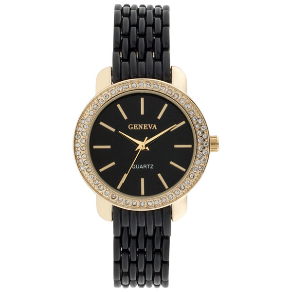 Geneva Womens Black Bracelet Watch-Jcp3006bg