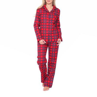 White Mark Flannel Womens Pant Pajama Set 2-pc.