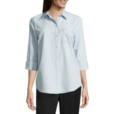 a.n.a Long Sleeve Button-Front Shirt- Misses &Talls