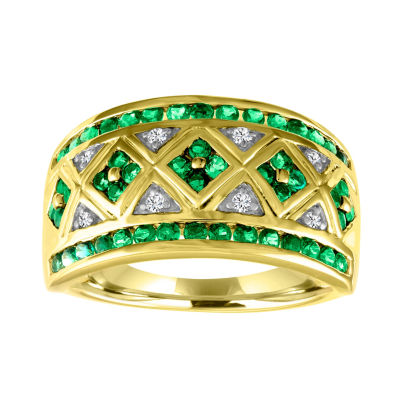 Womens Lab Created Green Emerald Gold Over Silver Cocktail Ring