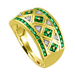 Lab-Created Green Emerald & Lab-Created White Sapphire 14K Gold Over Silver Cocktail Ring