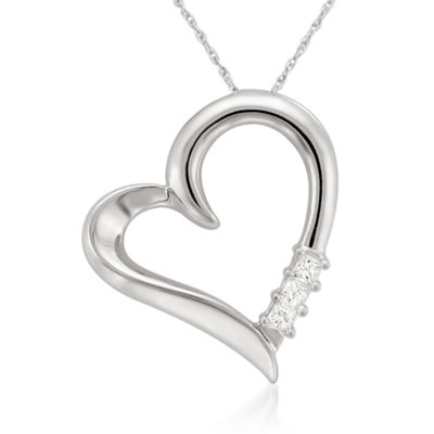 Womens 1/10 CT. T.W. Genuine White Diamond 14K Gold Heart Pendant Necklace