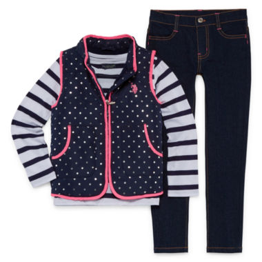 Us Polo Assn. 3-pc. Stripe Pant Set Girls