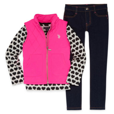 U.S. Polo Assn. 3-pc. Hearts Pant Set Girls