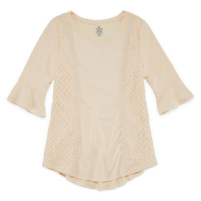 One Step Up Elbow Sleeve Scoop Neck T-Shirt- Girls' 7-16