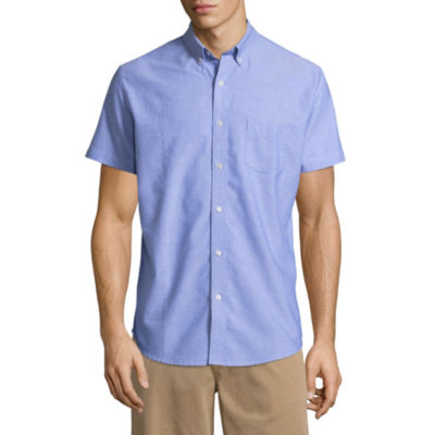 Arizona Mens Short Sleeve Button-Front Shirt