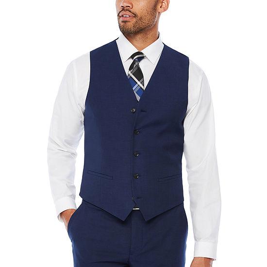 JF J.Ferrar Dark Blue Texture Vest - Slim