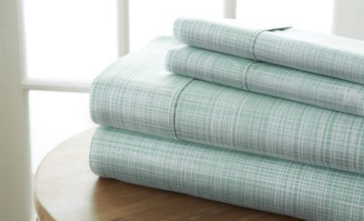 Casual Comfort™ Premium Ultra Soft Thatch Pattern Microfiber Wrinkle Free Sheet Set