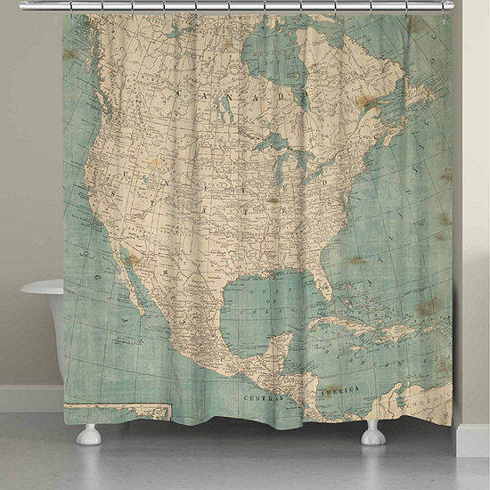 Laural Home North America Map Shower Curtain