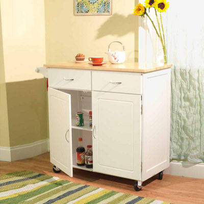 Large Wood-Top Kitchen Cart