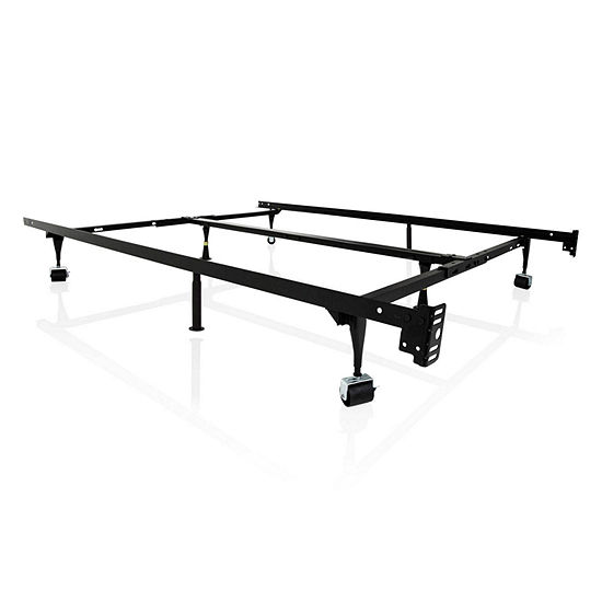 Malouf Structures Universal Adjustable Metal Bed Frame with Rollers