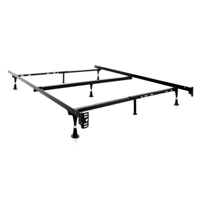 Malouf Structures Heavy Duty Adjustable Metal BedFrame with Glides