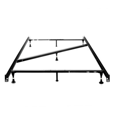 Malouf Structures Heavy Duty Adjustable Metal Bed Frame with Glides