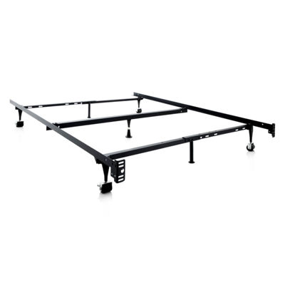 Malouf Structures Heavy Duty Adjustable Metal Bed Frame with Rollers