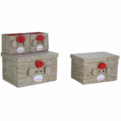 Bintopia™ 4-Piece Sock Monkey Knitted Storage Box Set