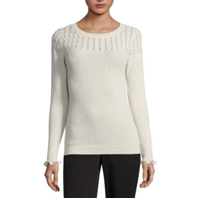 Liz Claiborne Long Sleeve Scoop Neck Pointelle Sweater