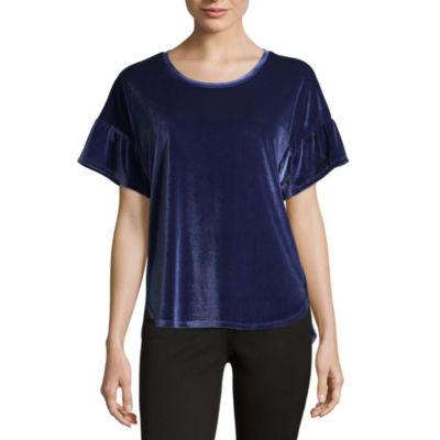Liz Claiborne Short Bell Sleeve Scoop Neck Velvet Blouse