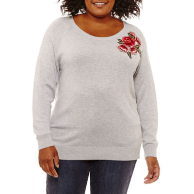 St. John's Bay Long Sleeve Embroidered Sweater-Plus