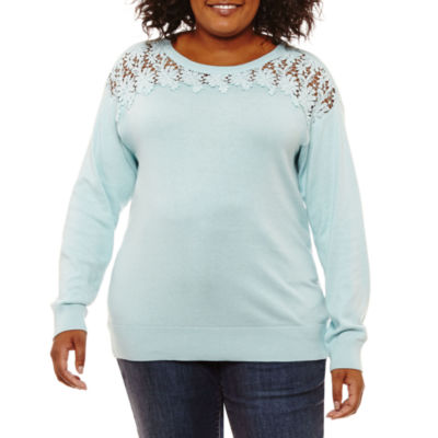 St. John's Bay Long Sleeve Lace Yoke Sweater