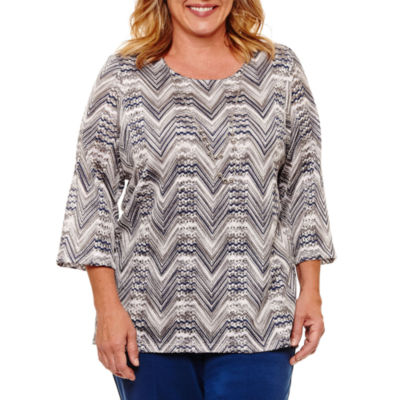 Alfred Dunner Arizona Sky 3/4 Sleeve Zig Zag T-Shirt with Necklace- Plus