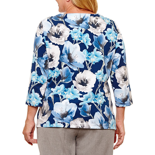 Alfred Dunner Arizona Sky 3/4 Sleeve Floral T-Shirt-Plus