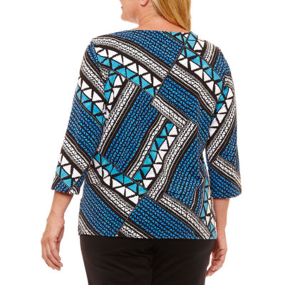 Alfred Dunner Easy Going 3/4 Sleeve Ethnic Patchwork T-Shirt-Womens Plus
