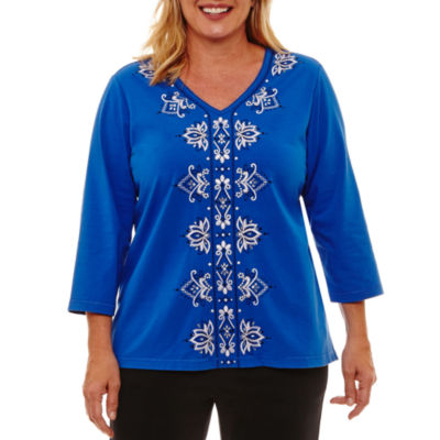 Alfred Dunner Easy Going 3/4 Sleeve Embroidery T-Shirt- Plus