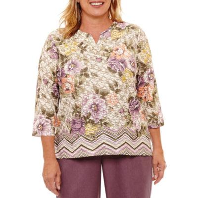 Alfred Dunner Palm Desert 3/4 Sleeve Floral Border T-Shirt-Womens Plus