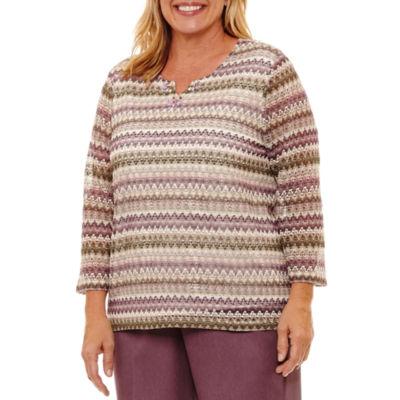 Alfred Dunner Palm Desert 3/4 Sleeve Textured Stripe T-Shirt-Womens Plus