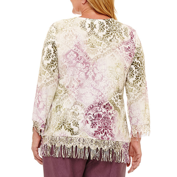 Alfred Dunner Palm Desert 3/4 Sleeve V Neck Fringe Sweater-Plus