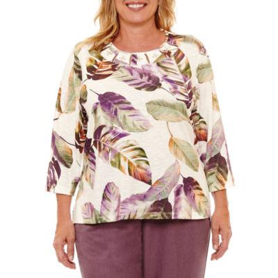 Alfred Dunner Palm Desert 3/4 Sleeve Leaf Print T-Shirt- Plus