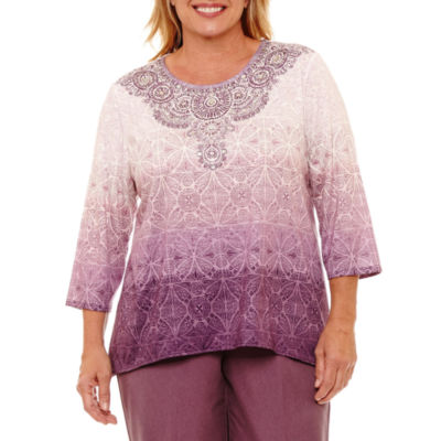 Alfred Dunner Palm Desert 3/4 Sleeve Ombre Biadere T-Shirt-Womens Plus