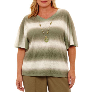 Alfred Dunner Palm Desert Short Sleeve Ombre Biadere T-Shirt-Womens Plus