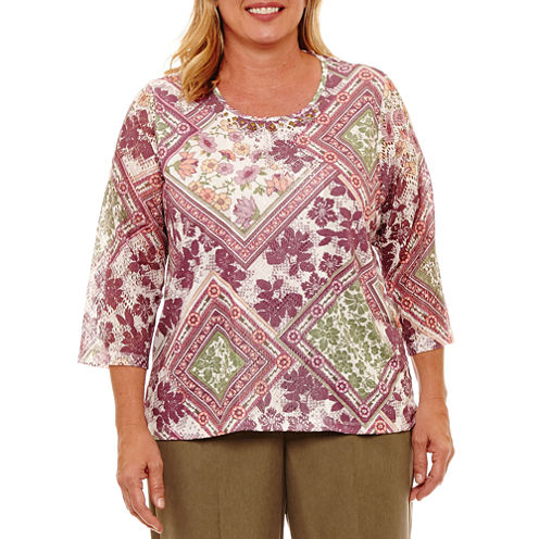 Alfred Dunner Palm Desert 3/4 Sleeve Patchwork Medallion T-Shirt- Plus