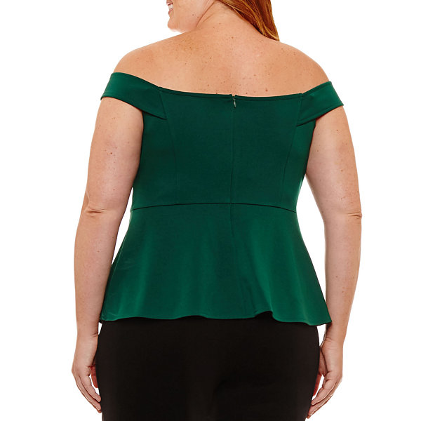 Worthington Off the Shoulder Knit Peplum Top Plus
