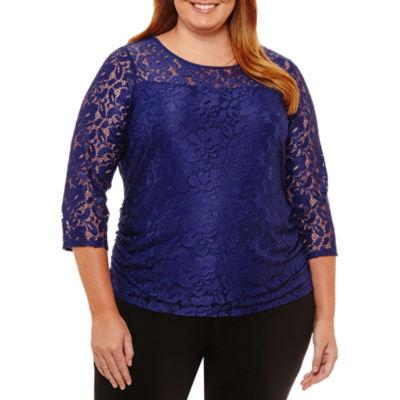 Worthington 3/4 Sleeve Lace Blouse-Womens Plus