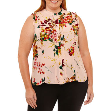 Worthington Sleeveless Button-Front Shirt - Plus