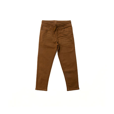 Hollywood Knit Twill Little Boys Straight Flat Front Pant, 4 , Brown