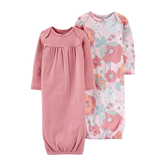 Carter's Baby Girls 2-pc. Knit Long Sleeve Crew Neck Nightgown