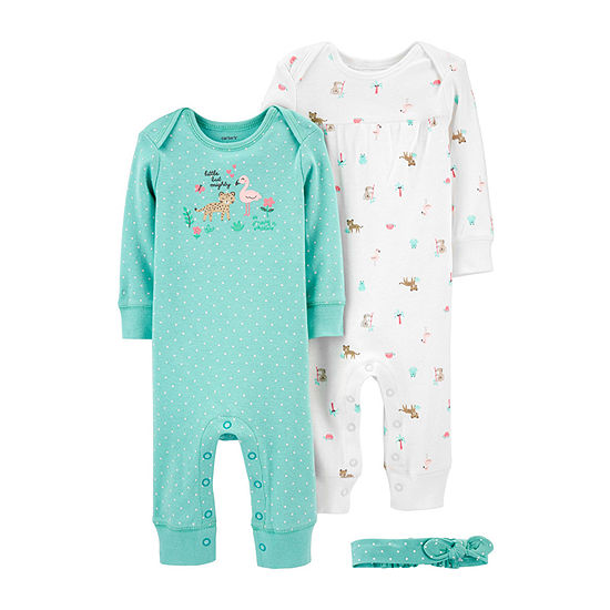 Carter's Baby Girls Long Sleeve 3-pc. Jumpsuit