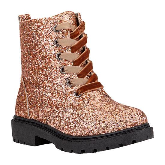 Olivia Miller Little Kids Girls Lace Up Flat Heel Boots