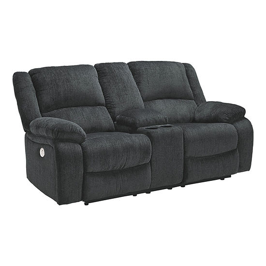 Signature Design by Ashley Dryden Collection Pad-Arm Power Recline Loveseat