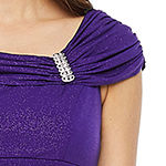 Scarlett Cap Sleeve Embellished Glitter Knit Evening Gown