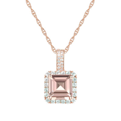Limited Time Special! Womens Lab Created Champagne Sapphire 14K Rose Gold Over Silver Pendant Necklace