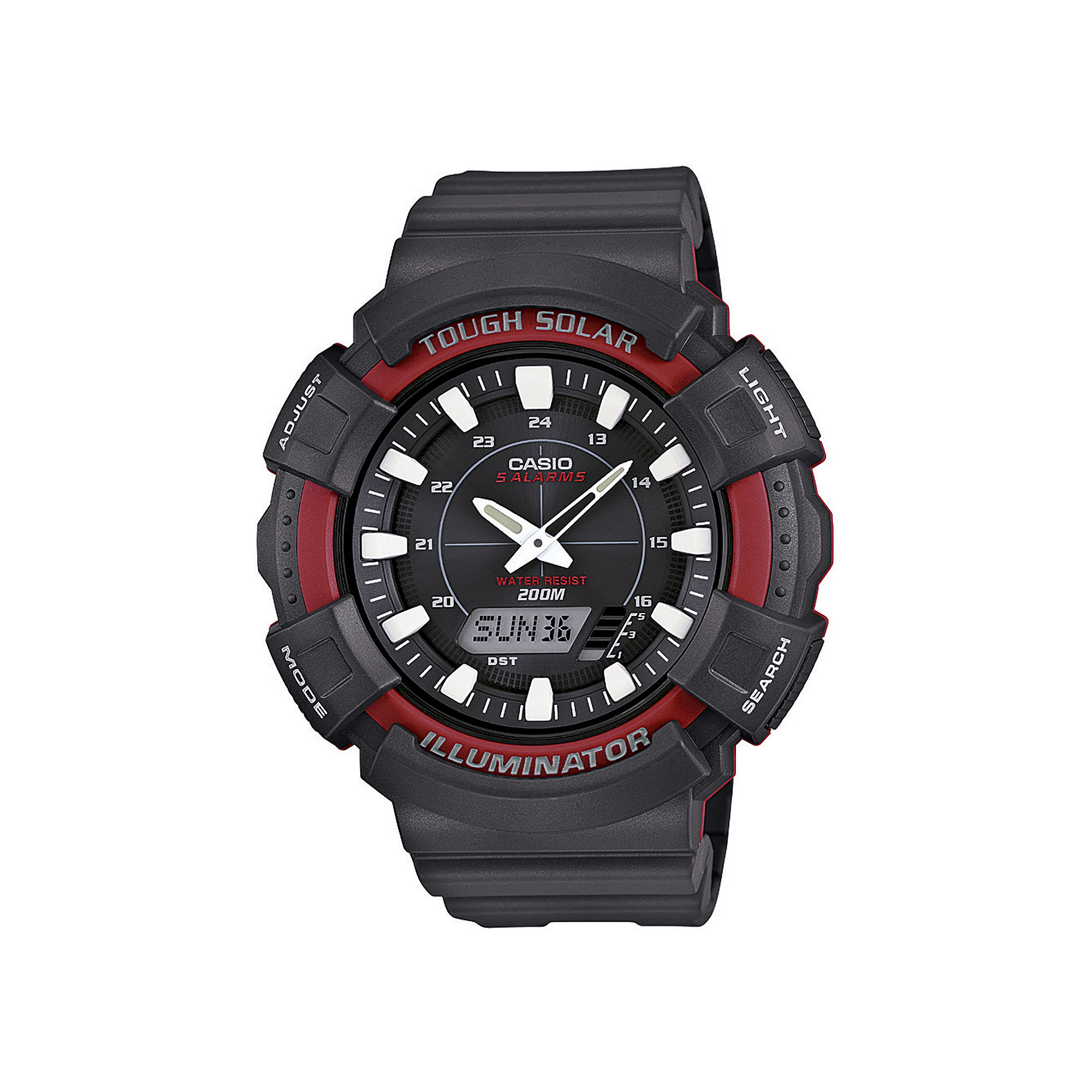 Casio Mens Red Bezel Black Strap Solar Sport Watch ADS800WH-4AV